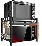 XIUYU Horno microondas Soporte 2-Tier Acero Inoxidable Horno de microondas Rack Rack de Cocina multifunción Estante de la Cocina del Panadero (Color: Negro, Tamaño: 55X38X45CM)
