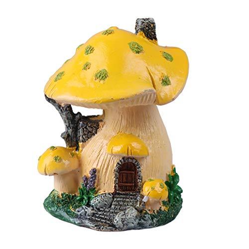 Hemoton Fée Jardin Champignon Maison Statue Bricolage Miniature Micro Paysage Ornements Bricolage Bonsaï Pot Décoration (Jaune)