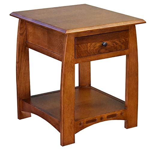 Crafters and Weavers Mission Quarter Sawn White Oak 1 Drawer Inlay End Table - Model A24