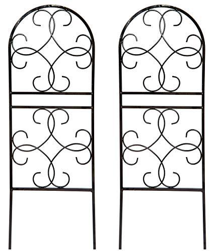 Ruddings Wood Set of 2 x Scrolled Design Garden Trellises - Garden Trellis Climbing Flower Plant Support Frames