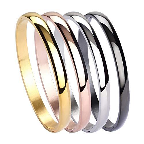 MILAKOO Damen Set mit 4 Silber/Gold/Roségold Edelstahl Armband Armreif Set 6mm