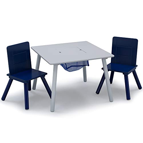 Delta Children Kids Table and Chair Set with Storage (2 Chairs Included) - Ideal for Arts & Crafts, Snack Time, Homeschooling, Homework & More, Grey/Blue