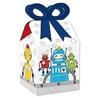 Big Dot of Happiness Gear Up Robots – スクエア型ギフトボックス – 誕生日パーティーやベビーシャワーリボンボックス – 12個セット