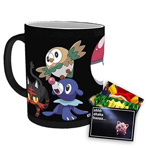 Pokemon Heat Change Tasse mit Motiv Pokeball und Bauz, Robball, Flamiau und exklusive GRATIS Grußkarte