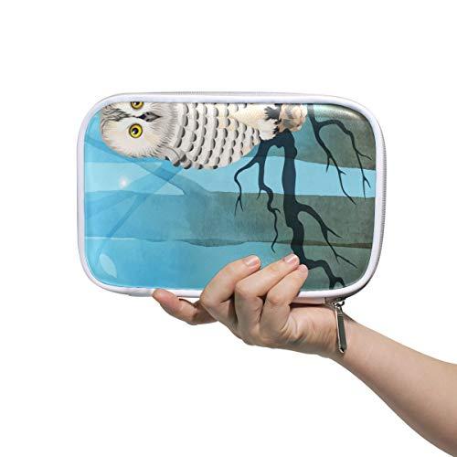 Deziro - Sac de rangement multifonction avec motif chouette polaire sur la branche - Sac de rangement pour pinceaux de maquillage - Sac de maquillage avec intérieur en maille pour le voyage