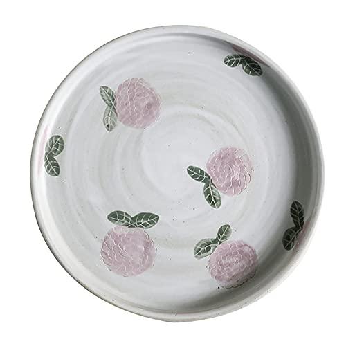 Taza de café (1 Taza/platillo), Taza de té de gres Hecho a Mano Japonesa, Usado para Regalos/Boda/hogar y Oficina, Bandeja Redonda (Color : 20cm Plate)