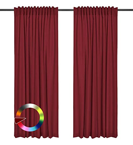 Rollmayer Vorhänge mit Tunnelband Kollektion Vivid (Weinrot 13, 135x260 cm - BxH) Blickdicht Uni einfarbig Gardinen Schal für Schlafzimmer Kinderzimmer Wohnzimmer