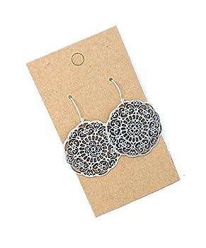 Filigree Floral Medallion on Sterling Silver Dangle Earrings Women Handmade Sundance Dreams Designs Boho