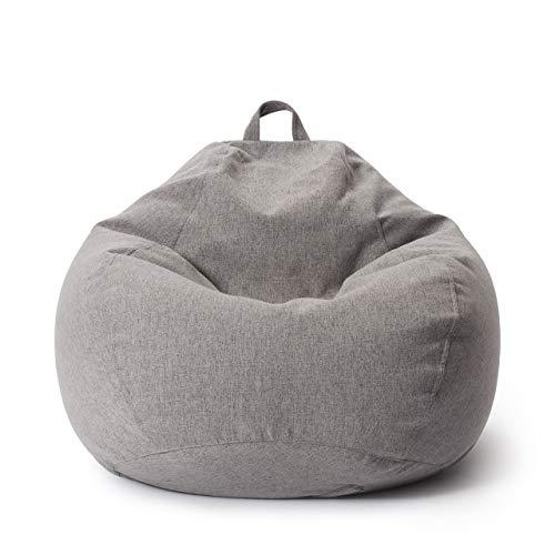 Lumaland Puff Pera Comfort Line con Taburete Disponible - Sillón Relax Puff Moldeable de Interior - Puff Infantiles con Relleno Incluido - 250 L 90x110x50 cm - Gris Claro