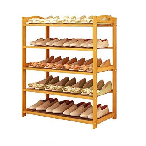 M-YN Zapatero Bambú de 5 Niveles Extensible for 20 Pares de organizadores de Almacenamiento de pie en Rack con repuestos fáciles de ensamblar (Size : 80 * 25 * 87CM)