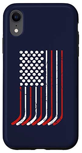iPhone XR Vintage American Flag Hockey Gift, 4th July Men Boys USA Case