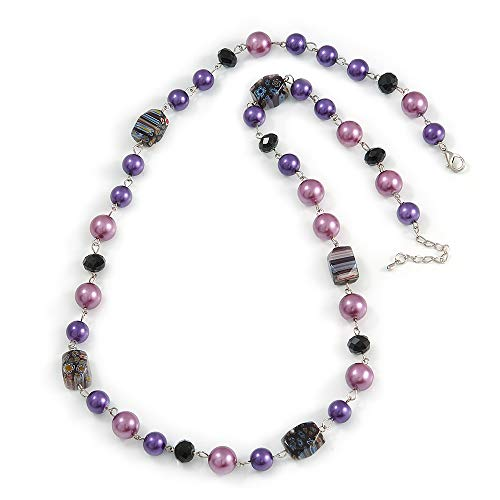 Avalaya Purple Pearl Style, Black Glass and Floral Ceramic Beaded Necklace - 72cm L/ 4cm Ext