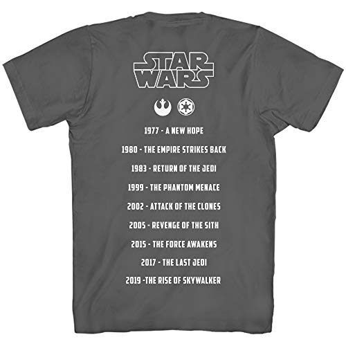 STAR WARS Street Poetry Movie List Collection Dates Adult Men's Graphic Tee T-Shirt (Charcoal, Large)