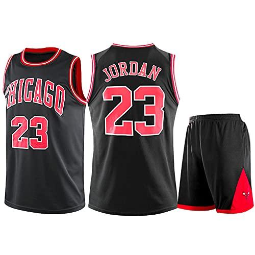 QJJ Hombres Adultos Michael Jordan Retro Basketball Jerseys Trajes, Chicago Bulls # 23 Uniforme De Baloncesto Fans Jerseys Summer Kits Top + Shorts 1 Set Black-XXXXL