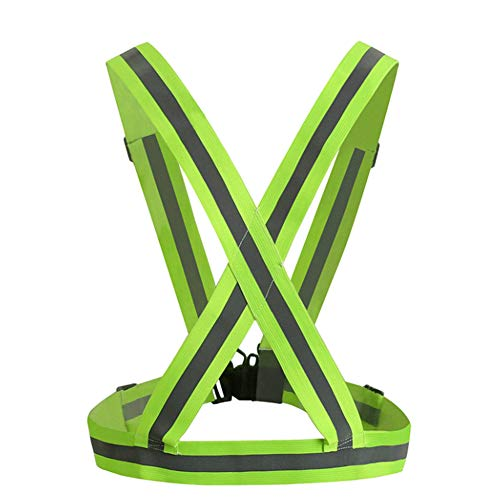 Alimagic Chaleco Reflectante, Chaleco de Seguridad, Chaleco de Seguridad elástico Ajustable para una Alta Visibilidad en la Noche y Correr Correr Andar en Bicicleta Banda arnes(Verde Fluorescente)