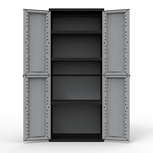 Kreher Kunststoffschränke | Aufbewahrungsschrank in neutraler Optik. Mit höhenverstellbaren Böden und abschließbaren Türen in 3 verschiedenen Modelle (Schrank mit 3 Böden)