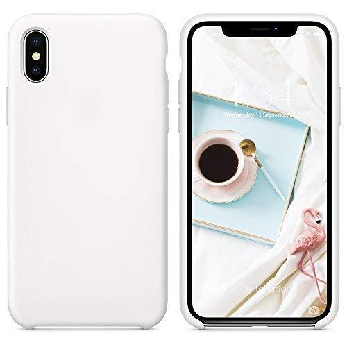SURPHY Cover Compatibile con iPhone XS, Cover Compatibile con iPhone X, Custodia per iPhone X XS Silicone Slim Cover Antiurto con Fodera in Microfibra Protettiva Case per iPhoneX XS 5.8 , Bianco
