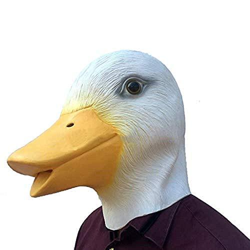 qingtianlove Latex Tier Maske - Halloween Maske - Entenkopf Maske - für Halloween Cosplay Party Gelb @ Weiß,White