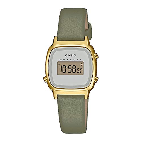 Casio Vintage Mini Digitaluhr für Damen Grün/Gold LA670WEFL-3EF