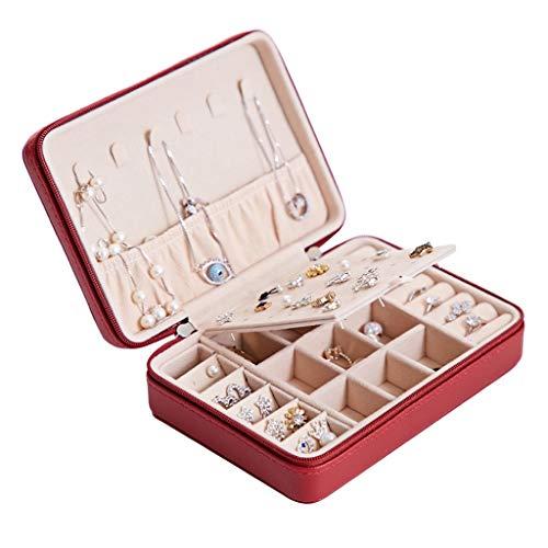 Caja De Joyería Joyería de la caja portátil de viaje de la joyería Caja de almacenamiento for el oído pendientes pendientes anillo de la mano de acabado de joyas caja de Mujer trompeta Multicapa
