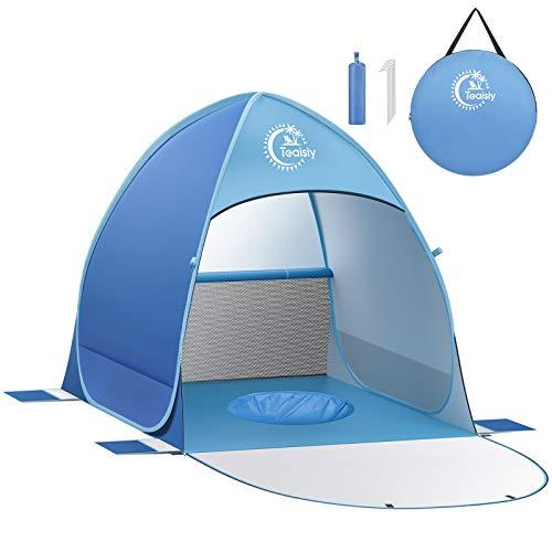Tienda de Playa Anti-Ultravioleta con Piscina para Bebés, Protección solar UV UPF50+ , Tienda Campaña con Cremallera de doble cara, Adecuada para Familias para Viaje, Camping, con Bolsa Portátil