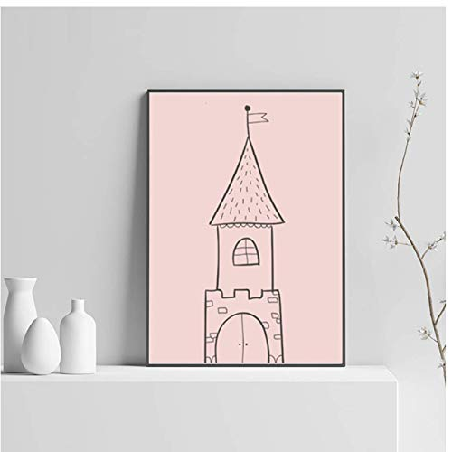 WEUEWQ Poster Home Decor Nordic Canvas Painting Cartoon Baby Girl Bedroom Cute Wall Art Print Kids Little Princess Poster Minimalist Picture Decorative Paintings -50x70cmx1 No Frame