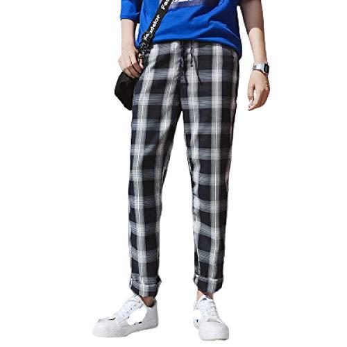 Katenyl Pantalones de Pierna Recta con Bloqueo de Color a Cuadros para Hombre Pantalones Casuales de Moda para Todos los Partidos Tendencia de Calle Todos los tamaños de Cintura 3XL