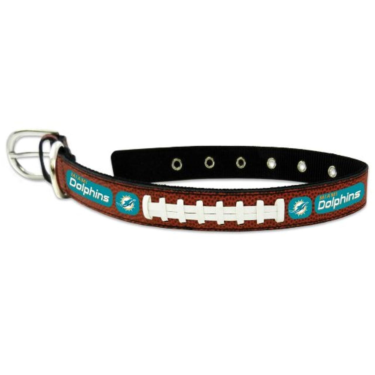 防衛強いますれるMiami Dolphins Classic Leather Medium Football Collar