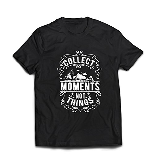 lepni.me Camisetas Hombre Citas Inspiradoras de Viajes, recolecta Momentos, no Cosas (Large Negro