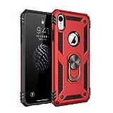 Pacyer Custodia compatible con iPhone XR con Anello di Aggancio Dito Supporto Magnetico Duty Armor Silicone Cover Shockproof AntiGraffio Case per Apple iPhone XR (Rosso)