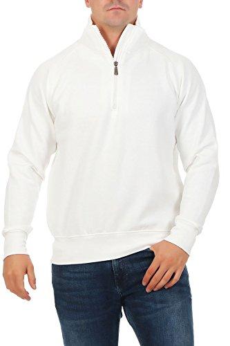 Happy Clothing Herren Pullover halber Reißverschluss ohne Kapuze, Größe:M, Farbe:Weiß