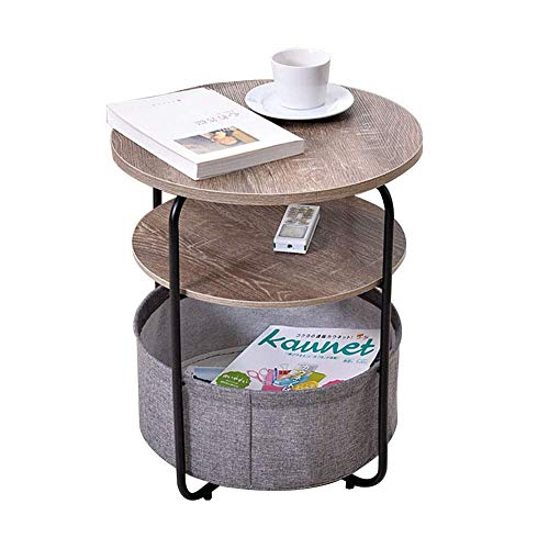 HYLH Side Tables,Tables 3-Layer Round Side Table With Storage Basket, Modern End Table, Espresso Bedside Table Nightstand With Fabric Bag For Living Room, Bedroom