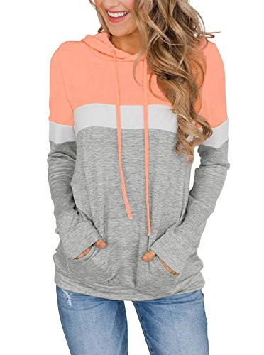 Womens Pullover Sweatshirt Color Block Long Sleeve Fall Tops Shirts Blouse Hoodies with Pocket Orange Pink Large