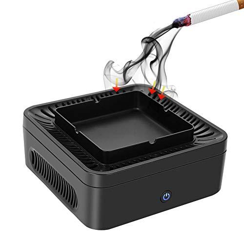 Cenicero sin humo con purificador de aire, filtro de carbón activo filtrante PM2,5 filtro de 99,97% polvo, polen, humo y olores, recargable por USB, bajo ruido