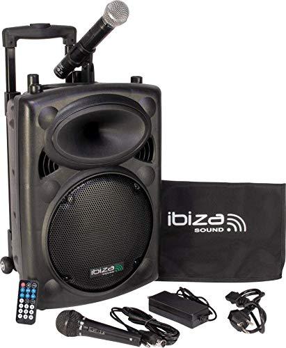 "IBIZA PORT10VHF-BT MOBILE BESCHALLUNGSANLAGE 10\"" inkl. Mikrofone PA DJ-Anlage PA-Box Bluetooth Lautsprecher mit Fernebdienung (500W, Akku-Betrieb,USB/SD, Radio)"