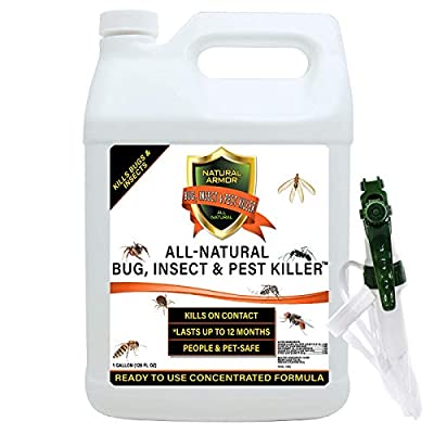 Natural Bug, Insect & Pest Killer & Control Including Fleas, Ticks, Ants, Spiders, Bed Bugs, Dust Mites, Roaches and More for Indoor and Outdoor Use, 128 Oz Gallon