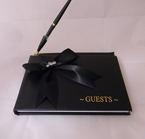 Wedding Party Ceremony Black Guest book with Pen Biker Motorcycle