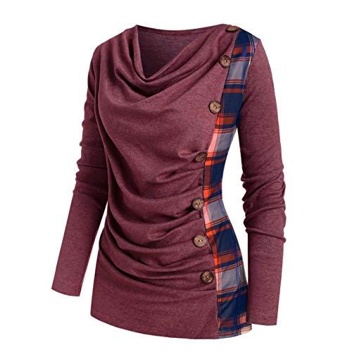 VEMOW Herbst Winter Elegante Damen Frauen Langarm Hoodies mit Knopf Gedruckt Lässig Täglichen Sport Outdoors Hoodies Herbst Sweatshirt(X2-a-Rot, 52 DE / 5XL CN)