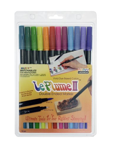 Uchida 1122-12E Le Plume II Double-Ended Markers with Brush and Fine Tips, Bright, Set of 12
