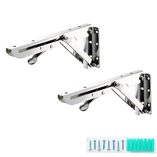 Soporte plegable robusto de Ling AI DA mayo, de 12', carga máxima: 110 lb de alto rendimiento, de acero inoxidable, 2 piezas, con bisagra., 250 mm