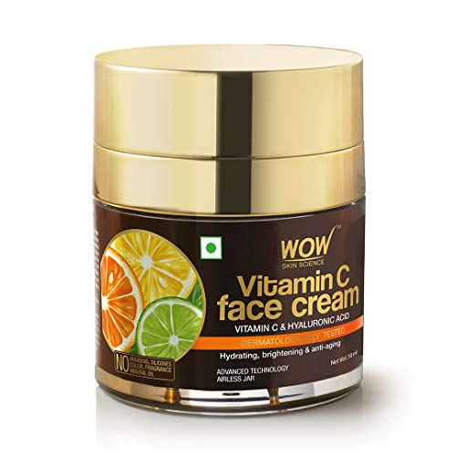 WOW Skin Science Vitamin C Face Cream for Radiant Skin- Oil Free, Quick Absorbing - For All Skin Types - No Parabens, Silicones, Color, Mineral Oil & Synthetic Fragrance - 50mL