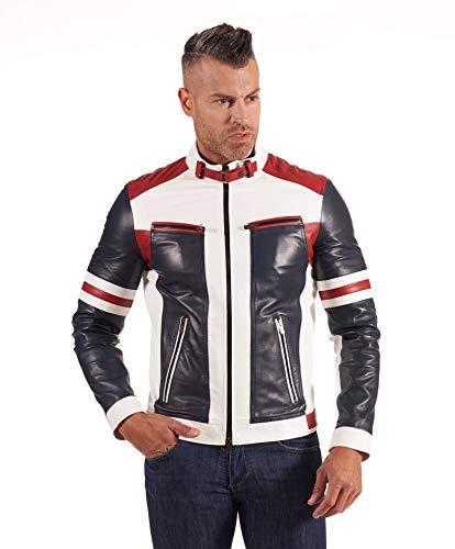 D'Arienzo Multicolour Nappa Lamb Leather Biker Jacket Quilted Yoke