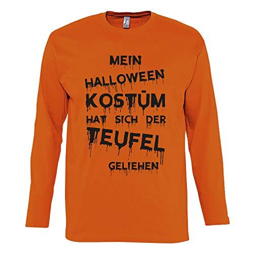 Shirt-Panda Herren Verkleidung Mein Halloween Kostüm Shirt mit Druck Longsleeve Orange L