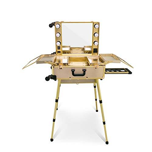 AOO Profession Suitcase Trucco con Specchio a LED a 360 Gradi con rotelle universali a 360 Gradi e Gambe Regolabili, Carrello Vanity da Viaggio in Piedi per Viaggi,D