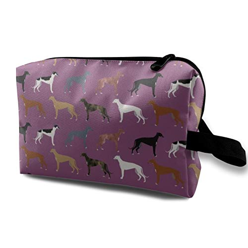 Reise-Kosmetiktasche, Windhunde, süße Hunderasse, beste Windhunde, niedlicher Rettungshund, wasserdichte Make-up-Tasche, Organizer, Aufbewahrungstasche mit Reißverschluss, 12,4 x 16,5 x 25,4 cm