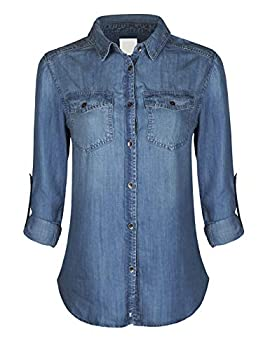 Design by Olivia Women s Classic Long/Roll Up Sleeve Button Down Denim Chambray Shirt Medium Denim M