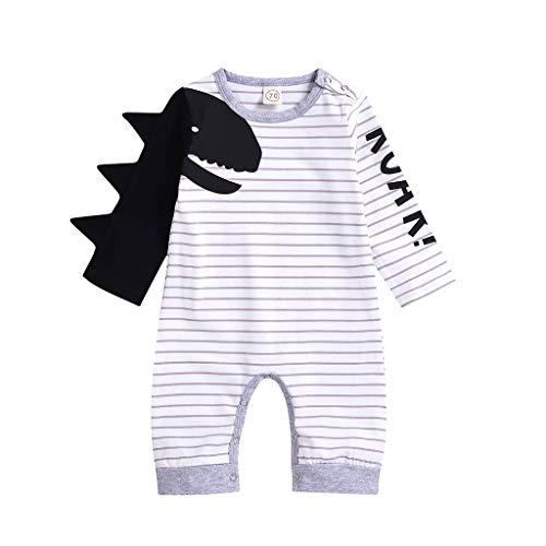 Julhold infant baby jongens meisjes leuke dinosaurus brief prints rompers verliezen gestreepte overall kleding 0-18 maanden