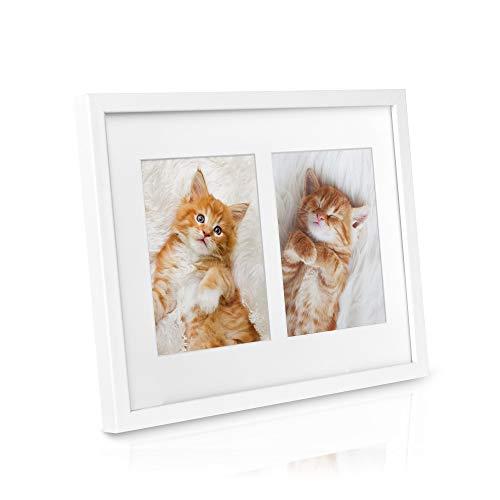 bomoe Bilderrahmen Galeria für 2 Fotos 13x18 cm - Fotorahmen aus Holz, Kunststoffglas, Metall-Aufhängung & Passepartout Multirahmen für Bilder Collagen - Weiß
