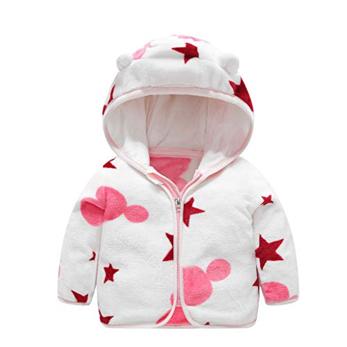Deloito Kleinkind Baby Kleidung Kinder Jungen Mädchen Niedlichen Ohr Strickjacke Kapuzenjacke Gestreiften Drucken Mantel Dicken Warme Baumwolle Outwear (Weiß,3-4 Jahre)