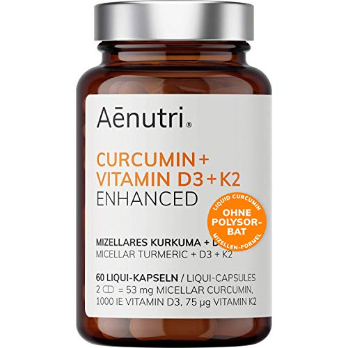 New: Curcumin Plus High Strength | Liquid Turmeric in Micelle Formula | Without Polysorbate, Without Piperine | Micellar with Vitamin D3 + K2 | Made in Germany | 60 Capsules